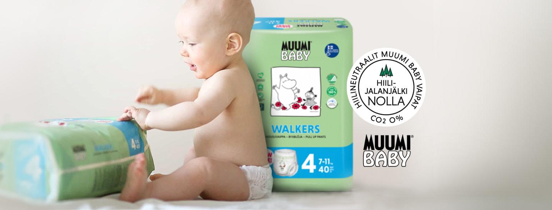 Joka 6. paketti hiilineutraaleja Muumi Baby -vaippoja 0€!