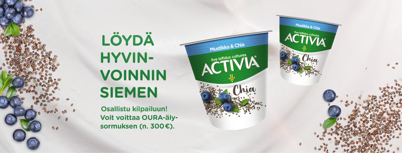 Valitse Activia-suosikkimakusi ja voita Oura-hyvinvointisormus