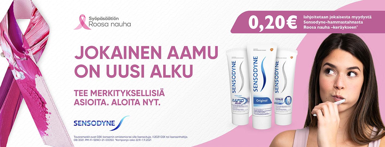 Ostamalla Sensodyne-tuotteita tuet syöpätutkimusta