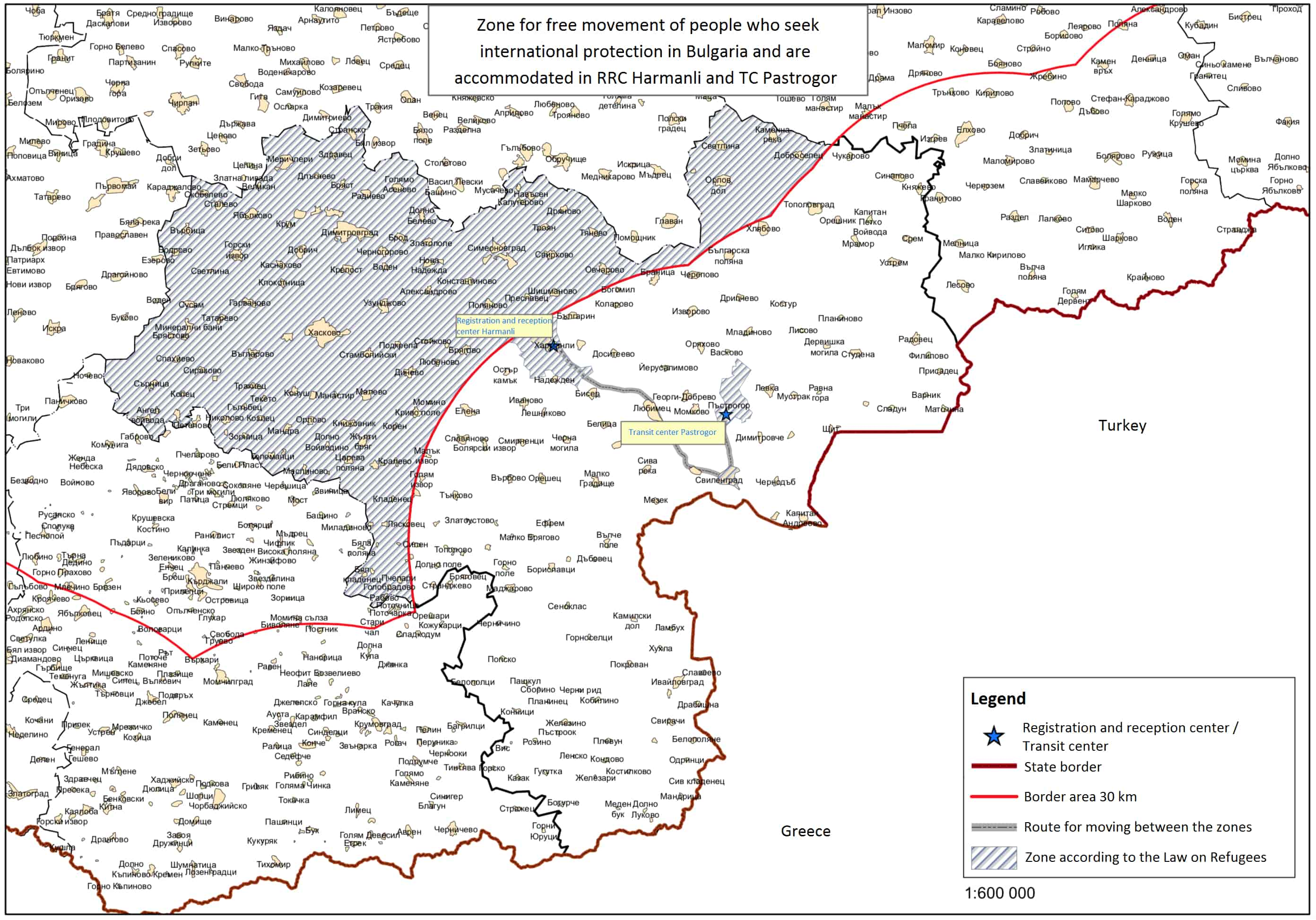 Zones of free and restricted movement for asylum-seekers accommodated in Harmanli and Pastrogor