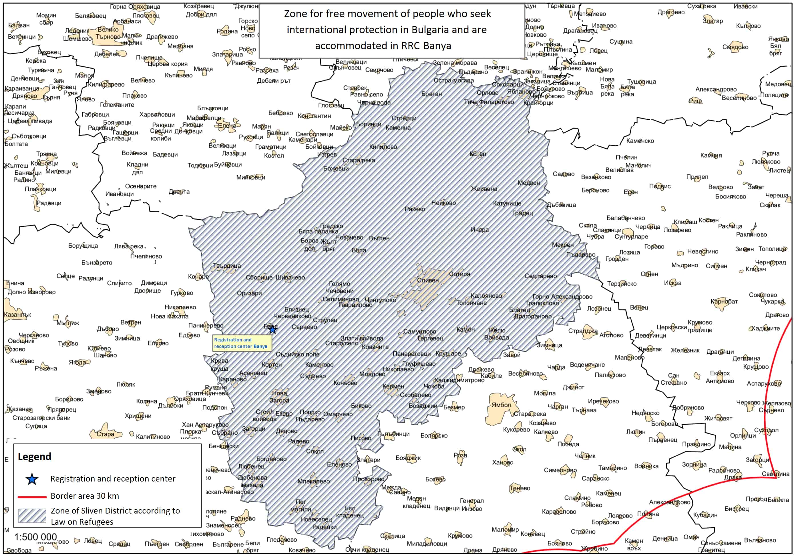 Zones of free and restricted movement for asylum-seekers accommodated in Banya