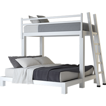 A white Twin XL Over King Adult Bunk Bed