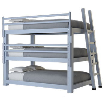 A light gray Full XL Adult Triple Bunk Bed