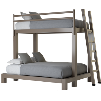 A light bronze Twin XL Over Queen size Adult Bunk Bed