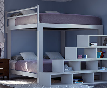 A light gray King Over King Adult Bunk Bed in a guest room