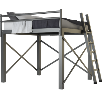 A charcoal King Size Adult Loft Bed on a blank background