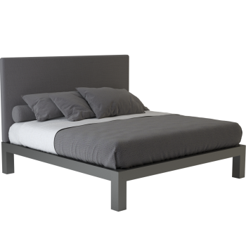 A charcoal king size platform Standard Bed