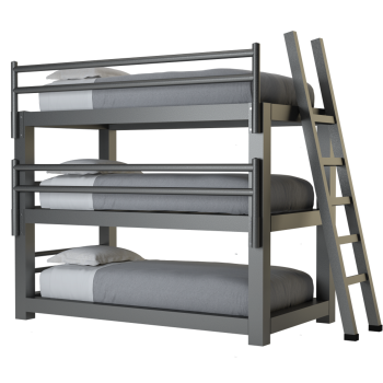A charcoal twin size Adult Triple Bunk Bed
