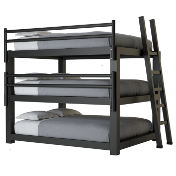 A charcoal queen size adult Triple Bunk Bed