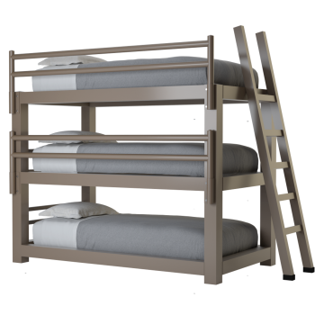 A light bronze twin size Adult Triple Bunk Bed