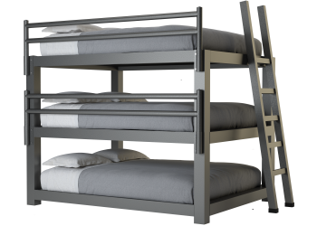 A charcoal queen size Triple Bunk Bed