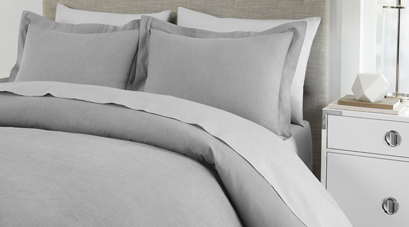 Sateen Duvet Flint Gray on Bed - 800x445%