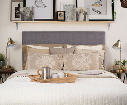 A white Queen Platform Bed in a couple's bedroom