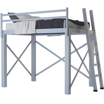 A light gray full size Adult Loft Bed