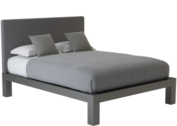 A charcoal queen size platform Standard Bed