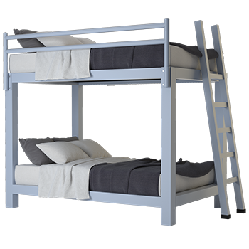 A light gray Full XL Over Full XL Adult Bunk Bed