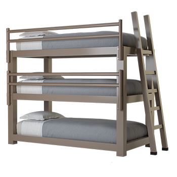 A light bronze Twin XL Adult Triple Bunk Bed