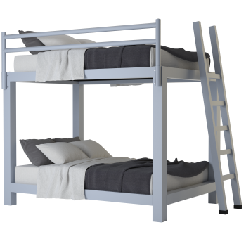 A light gray Full Over Full Adult Bunk Bed