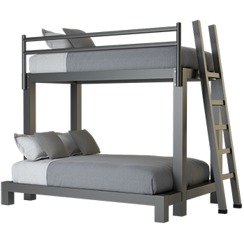 A charcoal Twin XL Over Full XL Adult Bunk Bed