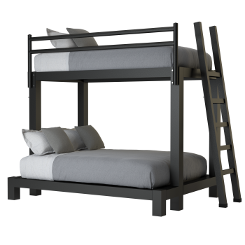 A black twin over full size Adult Bunk Bed