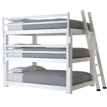 A white full size Adult Triple Bunk Bed