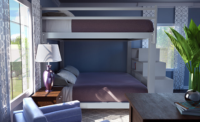 A light gray King Over King Adult Bunk Bed in a guest bedroom