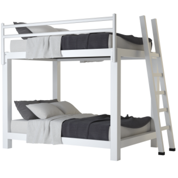 Full Over Full Adult Bunk Bed in White - Size 350x350
