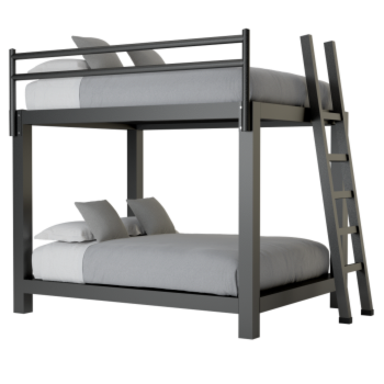 A black Queen Over Queen Adult Bunk Bed