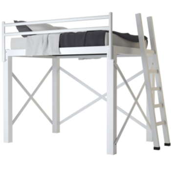 A white Full Size Adult Loft Bed on a blank background