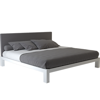 A white Alaskan King platform bed