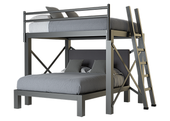 A charcoal Queen Over Queen L-Shaped Bunk Bed
