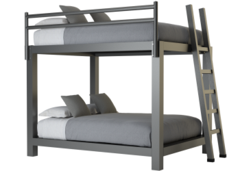 Queen Over Queen Bunk Bed in Charcoal - Size 350x250