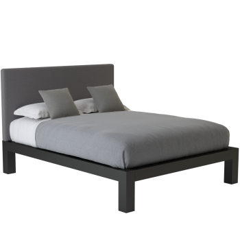 A black queen size platform Standard Bed