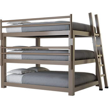 A light bronze California King Adult Triple Bunk Bed