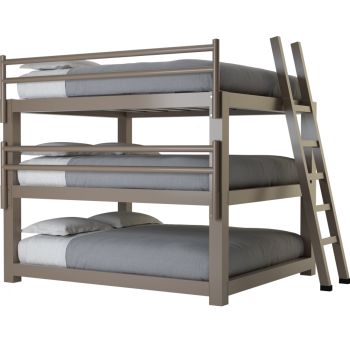 A light bronze king size Adult Triple Bunk Bed
