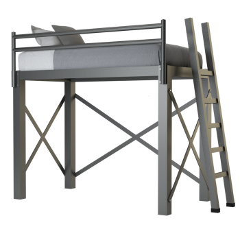 A charcoal twin size Adult Loft Bed