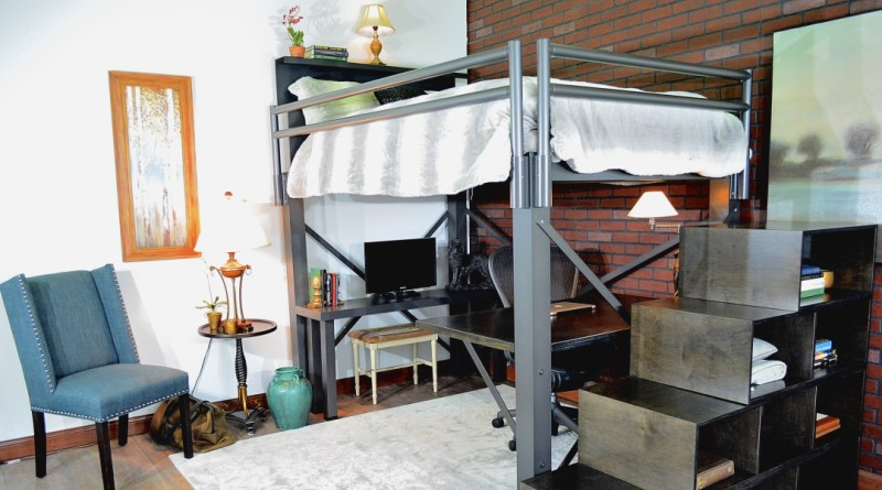 Charcoal Loft with Staircase - 800x445%