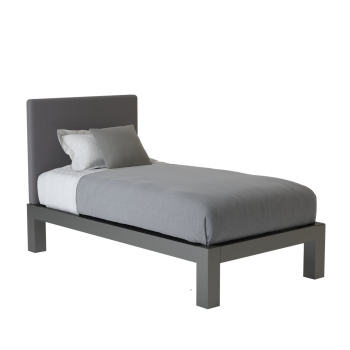 A charcoal twin size platform Standard Bed