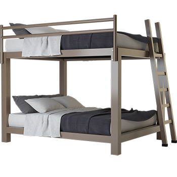 A light bronze California King Over California King Adult Bunk Bed