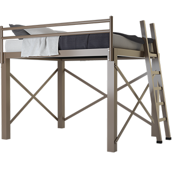 A light bronze California King size Adult Loft Bed