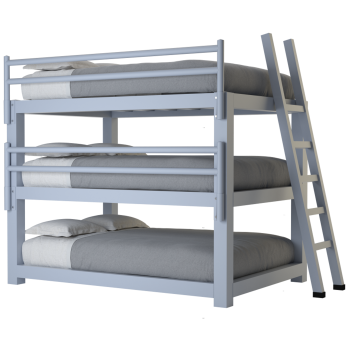 A light gray full size Adult Triple Bunk Bed