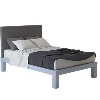 A light gray Full XL size platform Standard Bed