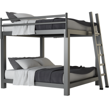 A charcoal King Over King Adult Bunk Bed