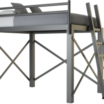 A charcoal Queen Size Loft Bed on a blank background