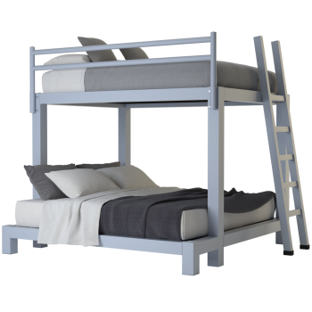 A light gray queen over king size Adult Bunk Bed