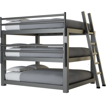 A charcoal king size Adult Triple Bunk Bed