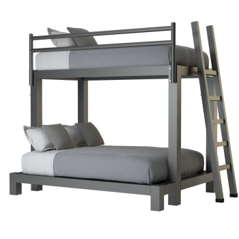 A charcoal twin over full size Adult Bunk Bed