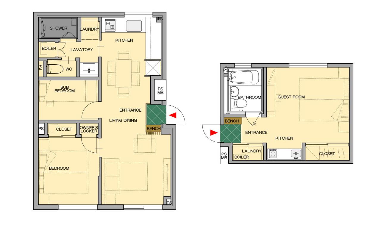 2bed studio平面図:スノードッグビレッジニセコ   Workations(ワーケーションズ)