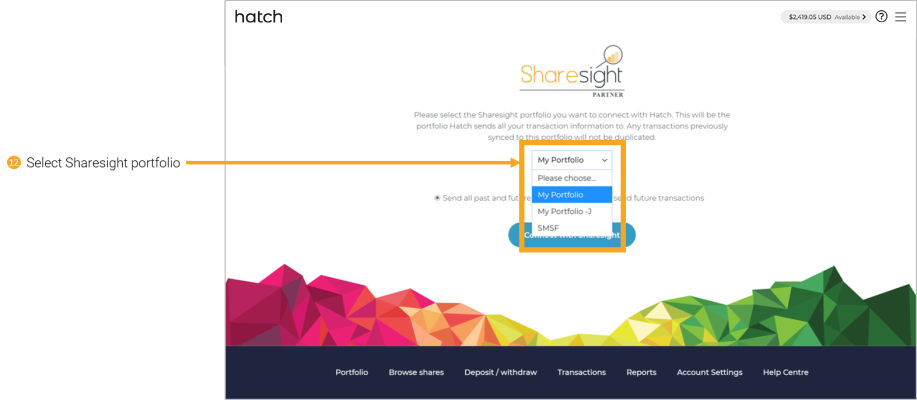 12 - connecting Hatch to Sharesight