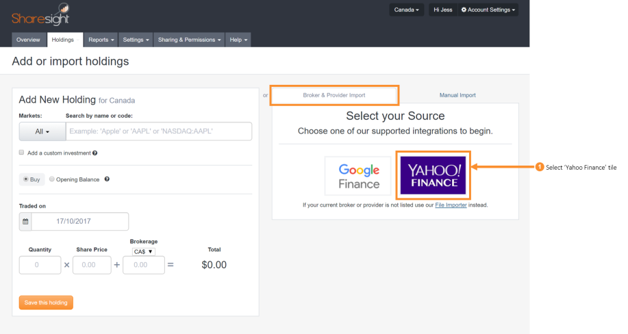 Import your historical trading data from Yahoo Finance